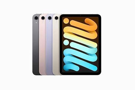 Vier Farben für ein Hallelujah. Das iPad mini gibt es in Spacegrau, Rosé, Violett und im hellen Weißton «Polarstern». Foto: Apple Inc./dpa-tmn