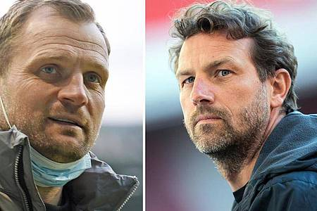Wollen mit ihren Teams endlich wieder punkten: Mainz-Trainer Bo Svensson (l) und sein Augsburger Gegenüber Markus Weinzierl. Foto: Carmen Jaspersen/Tom Weller/dpa