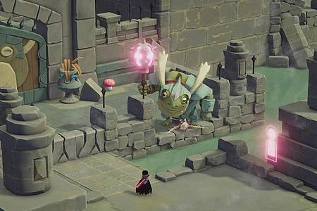 Als kleine Krähe erforschen Spielerinnen und Spieler eine Welt ohne Tod, mit schrägen Figuren und vielen Rätseln. Foto: Acid Nerve/Devolver Digital/dpa-tmn