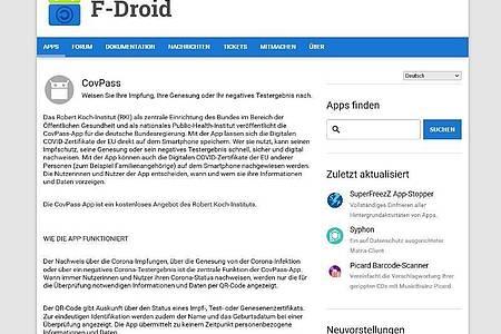 Neu im Laden: Die Covpass gibt es nun auch als freie Software bei F-Droid. Foto: f-droid.org/dpa-tmn