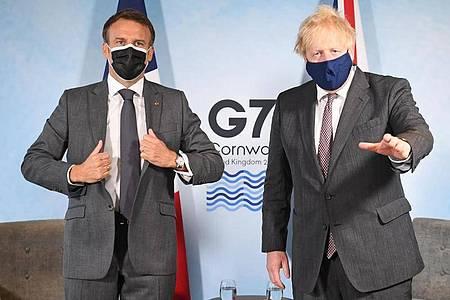 Schwierige Beziehung:Boris Johnson und Emmanuel Macron. Foto: Stefan Rousseau/PA Wire/dpa
