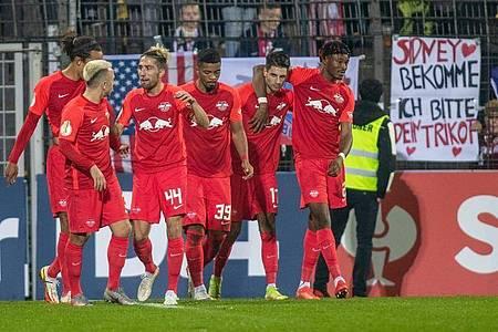 RB Leipzig setzte sich im DFB-Pokal gegen den SV Babelsberg durch. Foto: Andreas Gora/dpa