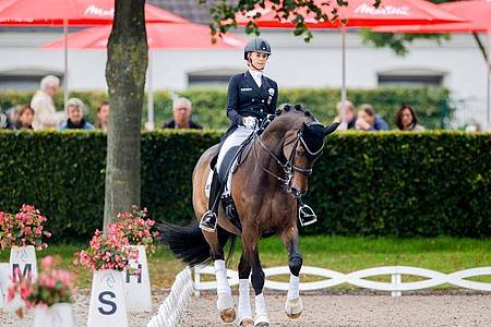 Jessica vonBredow-Werndl auf ihrem Pferd Ferdinand. Foto: Rolf Vennenbernd/dpa