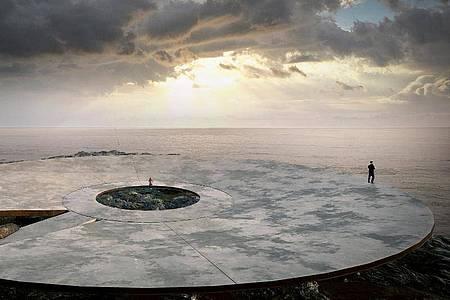 Der Entwurf des Corona-Erinnerungsmals vom Architekten Martin Gomez Platero in Montevideo (Uruguay). Eine 40 Meter breite Plattform im Meer soll über einen Steg mit dem Ufer verbunden werden. Foto: Gómez Platero/dpa