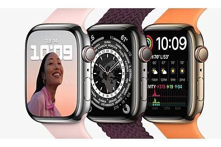 Wann die neue Apple Watch 7 mit 41 oder 45 Millimeter großem Display in den Verkauf kommt, ist noch unklar. Apple spricht nur von Herbst. Foto: Apple Inc./dpa-tmn