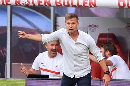 Kann bei Man City personell fast aus dem Vollem schöpfen:Leipzig-Coach Jesse Marsch. Foto: Jan Woitas/dpa-Zentralbild/dpa