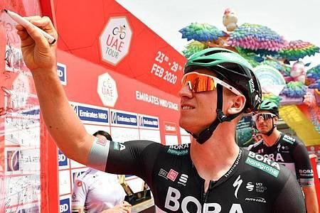 War bei der UAE Tour für sein Bora-hansgrohe-Team imn Einsatz: Pascal Ackermann. Foto: Lapresse/ Massimo Paolone/Lapresse via ZUMA Press/dpa