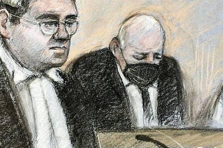 Diese Skizze zeigt den Angeklagten im Gerichtssaal. Dem geständigen Mörder der Londonerin Sarah Everard droht ein Leben hinter Gittern. Foto: Elizabeth Cook/PA Wire/dpa