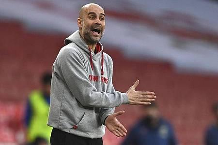 City-Coach Pep Guardiola lehnt die Idee, die WM alle zwei Jahre stattfinden zu lassen, nicht ab. Foto: Shaun Botterill/Pool Getty/AP/dpa