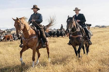 Benedict Cumberbatch (l) und Jesse Plemons in «The Power of the Dog». Foto: Kirsty Griffin/Netflix via AP/dpa