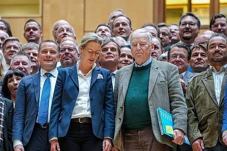 Tino Chrupalla (l-r), AfD-Bundesvorsitzender, und die AfD-Fraktionsvorsitzenden Alice Weidel sowie Alexander Gauland (vorne) stehen mit weiteren Fraktionsmitgliedern zusammen. Foto: Kay Nietfeld/dpa