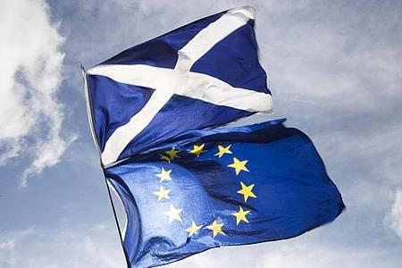 Die Flaggen von Schottland (o) und Europa. Schottland will wieder mehr Studenten aus der EU anlocken. Foto: Jane Barlow/PA Wire/dpa