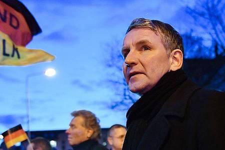 Björn Höcke, Fraktionschef der AfD im Thüringer Landtag, bei einer Demonstration Anfang März in Erfurt. Foto: Martin Schutt/dpa-Zentralbild/dpa