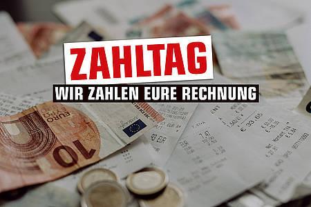 Zahltag Motiv mit Rechnungen und Geldscheinen