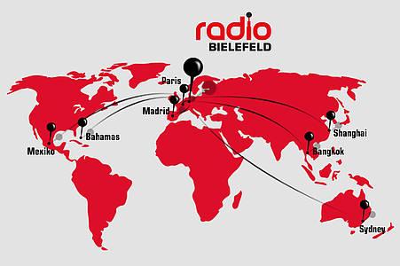 Weltkarte Radio Bielefeld